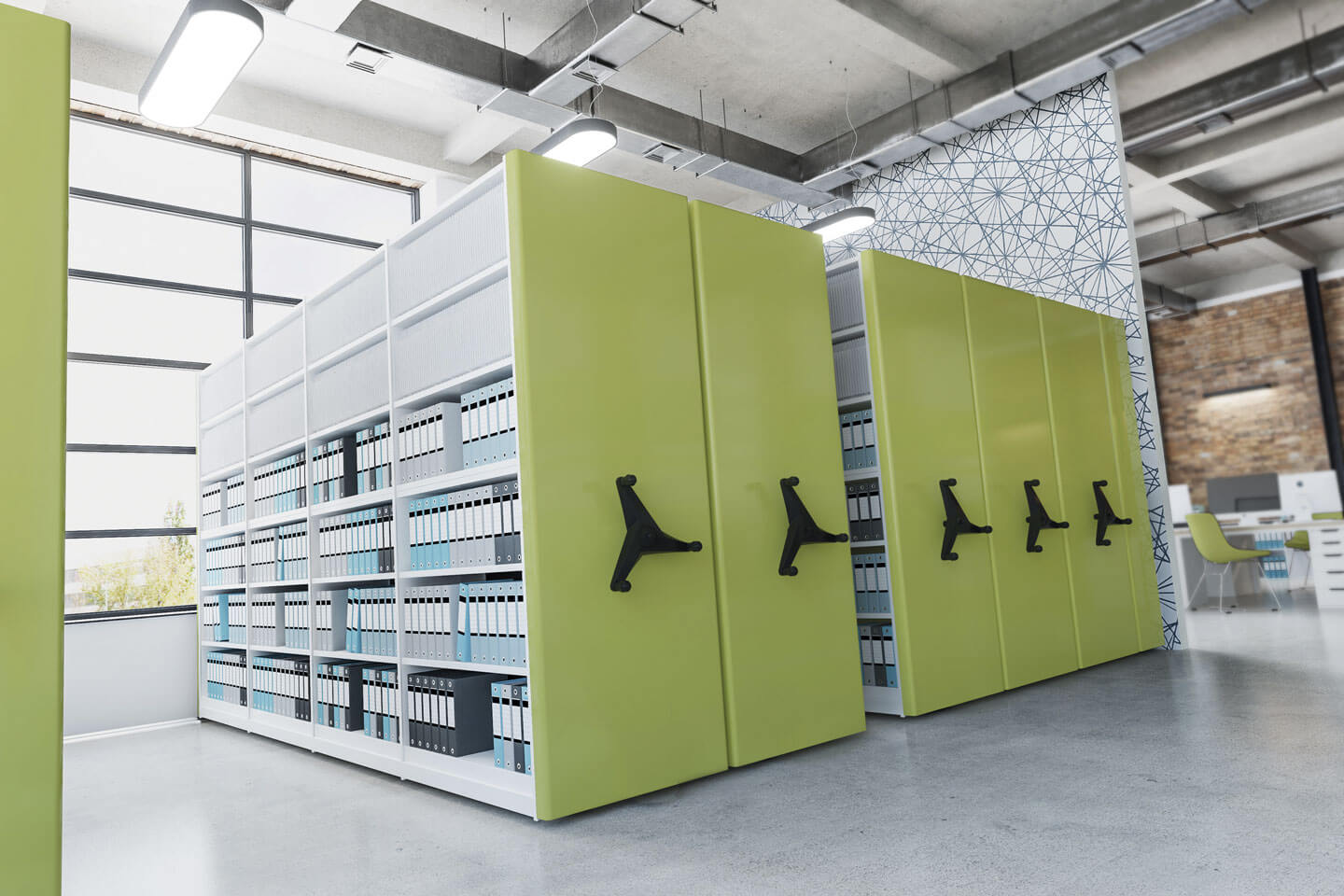 Mobile shelving green library| POLYPAL STORAGE SYSTEMS