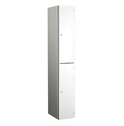 Taquilla de aluminio de dos puertas blancas | POLYPAL STORAGE SYSTEMS