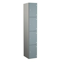 Taquilla de aluminio de cuatro puertas grises | POLYPAL STORAGE SYSTEMS