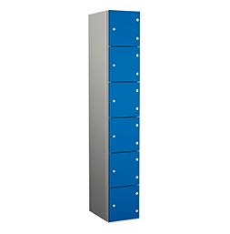 Taquilla de aluminio de seis puertas azules | POLYPAL STORAGE SYSTEMS