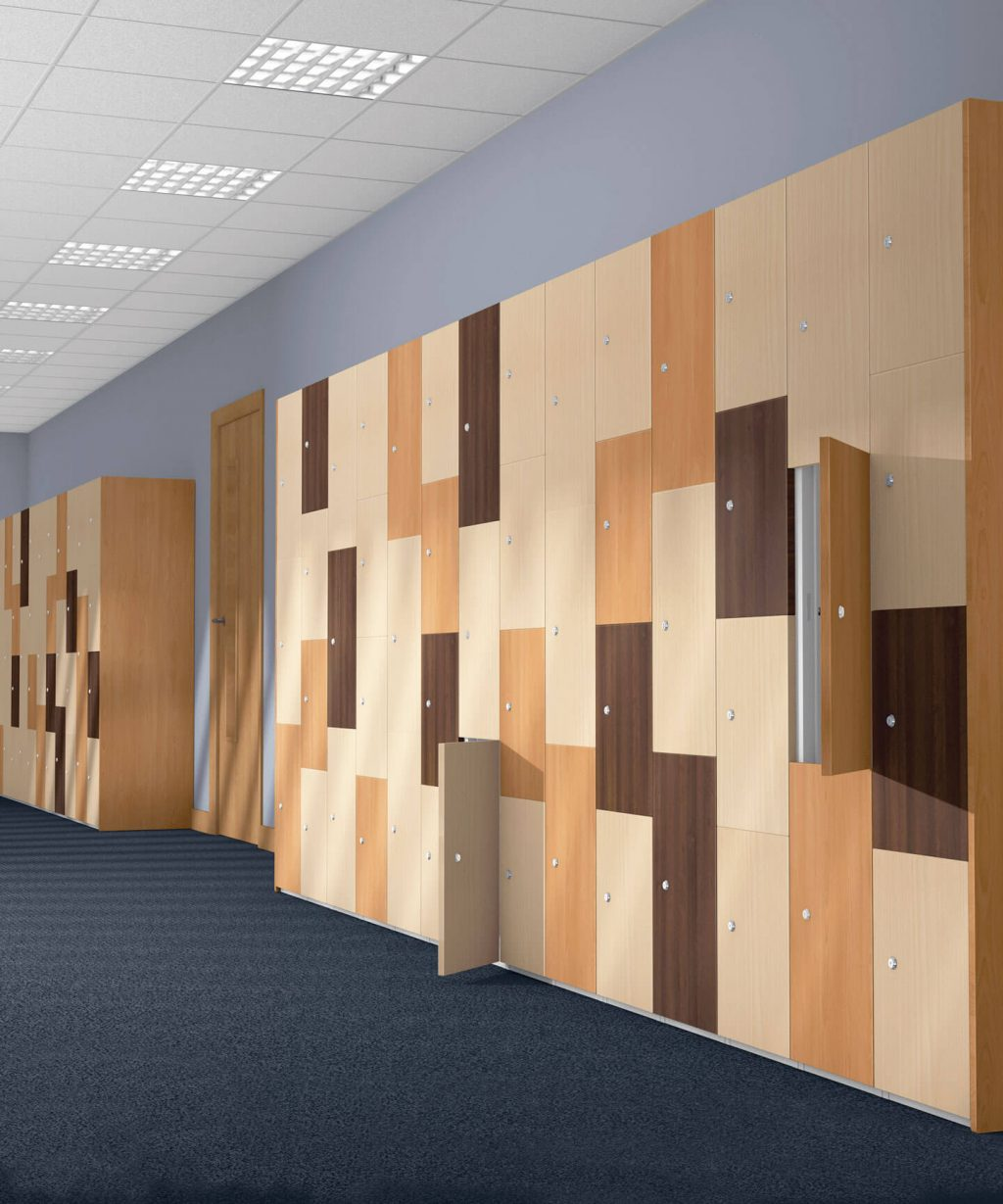 Designer wood laminated lockers | POLYPAL STORAGE SYSTEMS
