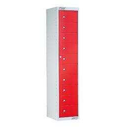 Ausgabeschrank mit 10 Türen Rot | POLYPAL STORAGE SYSTEMS