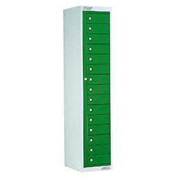 Ausgabeschrank mit 15 Türen Smaragdgrün | POLYPAL STORAGE SYSTEMS