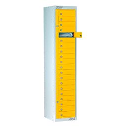 Ausgabeschrank mit 20 Türen  Signalgelb| POLYPAL STORAGE SYSTEMS